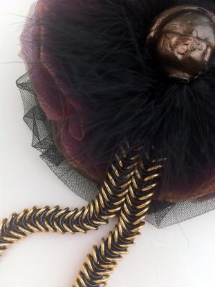 Angelica Brigade Broken Doll Fascinator by joyz*k, handmade, avant garde, chainmaille, sculpture, fur, silk organza, clip, mixed media wearable art