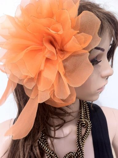 Angelica Brigade Handmade Silk Fascinator Vespera L Orange
