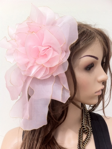 Angelica Brigade Handmade Silk Fascinator Vespera L Pink