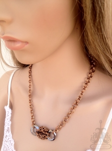Angelica Brigade Bronze Maille Necklace with Swarovksi Crystal Rings 001