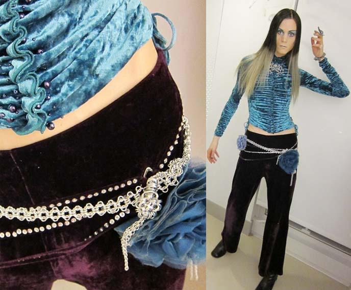 Yukiro Dravarious wearing Angelica Brigade handmade chain maille jewelry and mixed media fascinator clips by joyz*k