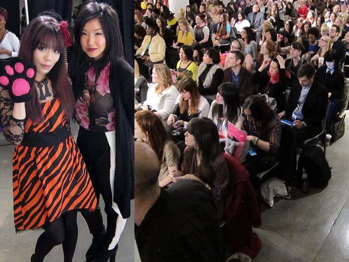 La Carmina LaCarmina wore Angelica Brigade Tsubaki Silk, Chain Maille, and Swarovski floral clip by joyz*k at Independent Fashion Blogger Conference during New York Fashion Week