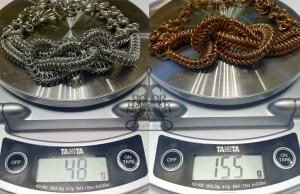 Angelica Brigade Knotted Maille Necklace Catrina Bronze vs Bright Aluminum