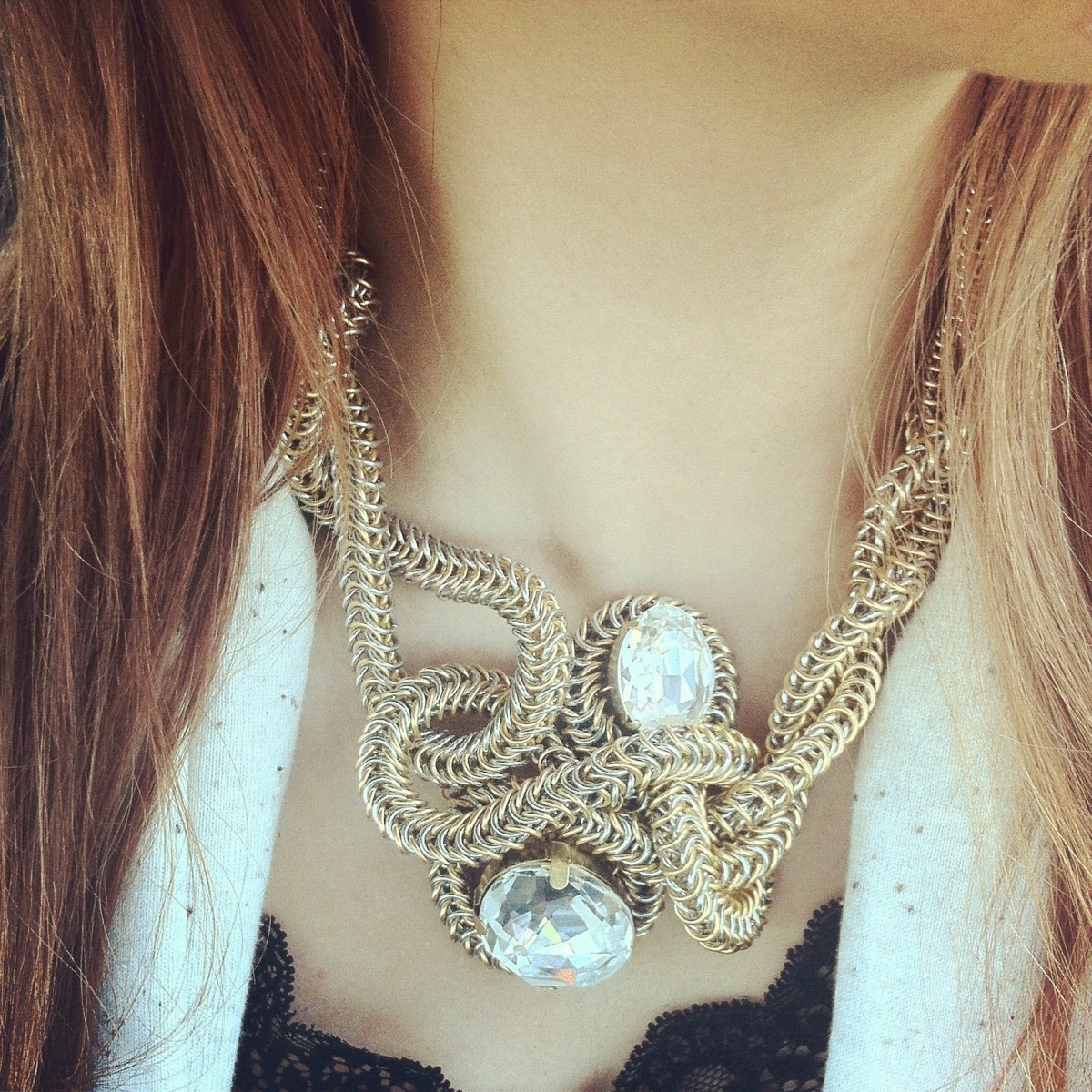 NEW: Anna Statement Necklace, Avant Garde Chain Maille Jewelry