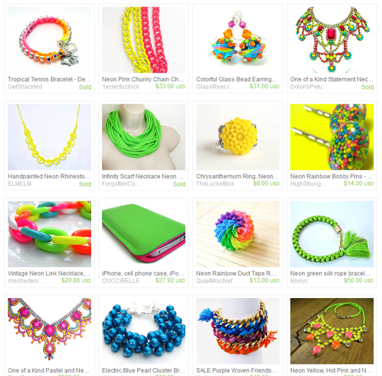 Bright Neon Colored Accessories Fashion Trend Summer 2012