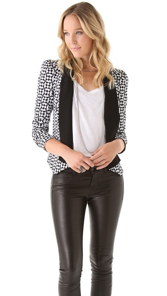 Rebecca Minkoff Becky Jacket via Shopbop Black and White Outfit Black Leather Pants Eye Catching Blazer Shawl Collar
