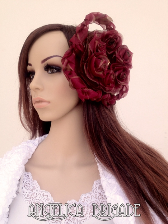 Handmade Gigantic Oversized Dramatic Silk Floral Clip in Deep Red by Angelica Brigade AngelicaBrigade Swarovski Nautilus Fancy Stone in Light Colorado Topaz with Alligator Clip Hair Fascinator Wedding Hatinator Bridal Unusual Unique Avant Garde Wearable Art Gothic Lolita