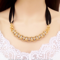 Gold and Silver Captive Inverted Round Chain Maille Necklace with Black Grossgrain Ribbon