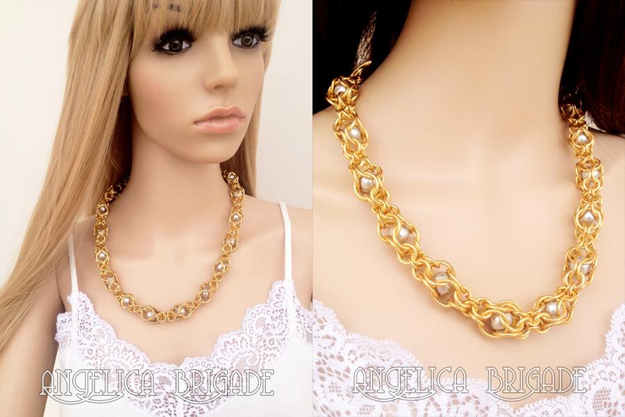 Angelica Brigade angelicabrigade handmade jewelry jewellery necklace new weave swarovski crystal pearl pearls gold silver unusual elegant glamorous captive variant weave joyz*k