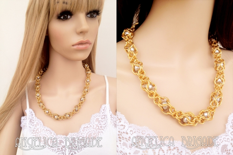 Angelica Brigade angelicabrigade handmade jewelry jewellery necklace new weave swarovski crystal pearl pearls gold silver unusual elegant glamorous captive variant weave joyz*k