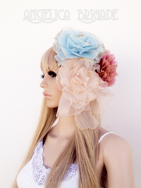 Angelica Brigade High / Couture Quality Handmade Hair Fascinator / Headpiece / Headdress / Floral Clips - a set of 3 clips - in pale baby blue , palest warm beige , iridescent pink and peach rainbow sorbet , Gigantic but Extremely Lightweight, Unusual, Unique, Dramatic, Feminine, Neo Rococo, Marie Antoinette, Sweet, Elegant, Gothic Lolita, Cute, Can be made in custom colors, bespoke, Etsy, http://www.angelica-brigade.com AngelicaBrigade