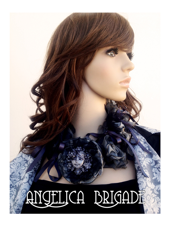 AngelicaBrigade Angelica Brigade Wearable Art Avant Garde Statement Necklace Handmade Bib Necklace Unusual Gothic Lolita La Carmina LaCarmina Art Piece Accessory Accessories Handmade Sculpture Painted Distressed Burnt Fabric