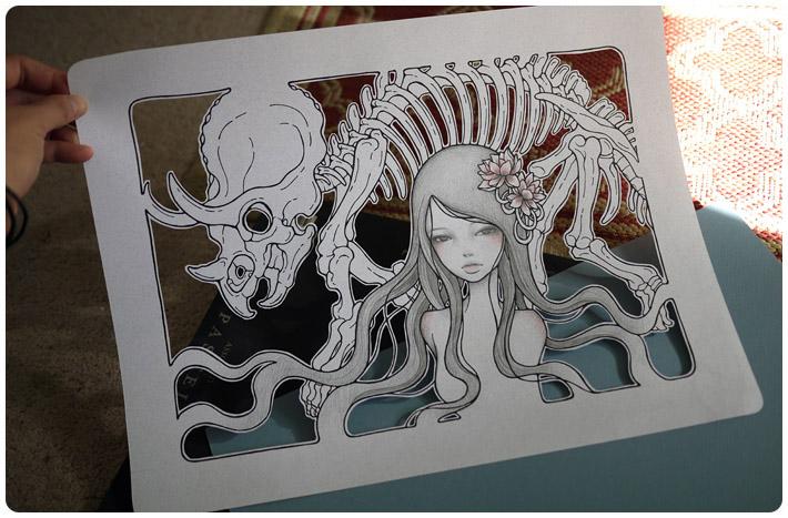audrey kawasaki art paper cutout dinosaurus