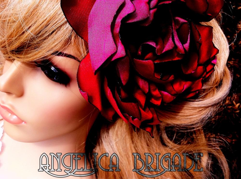 Angelica Brigade AngelicaBrigade handmade silk hair fascinator silk floral clip headpiece red fuchsia hot pink raspberry iridescent green shantung taffeta photography fashion style indie independent designer