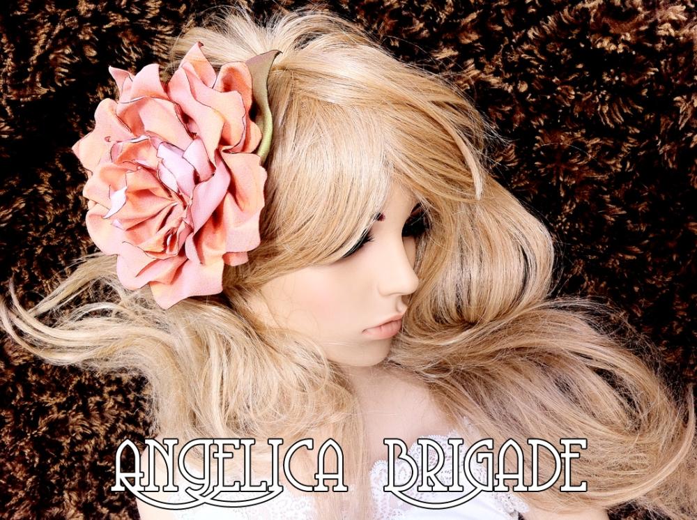 Angelica Brigade AngelicaBrigade Handmade Silk Floral Hair Fascinator Silk Flower Clip Salmon Pink Iridescent Green Photography independent designer etsy seller