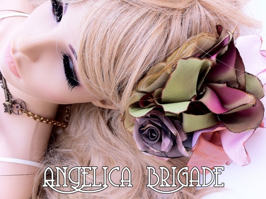 Angelica Brigade AngelicaBrigade hatinator handmade silk hair fascinator silk floral clip headpiece red fuchsia hot pink raspberry iridescent green shantung taffeta silk organza photography fashion style indie independent designer