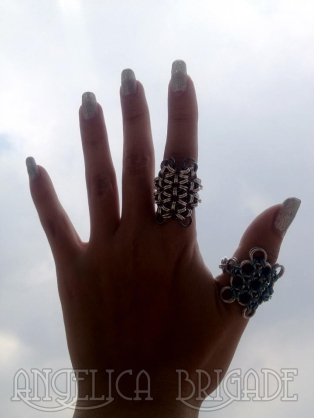 Angelica Brigade handmade chain maille jewelry AngelicaBrigade chainmaille jewellery ring Japanese Weave