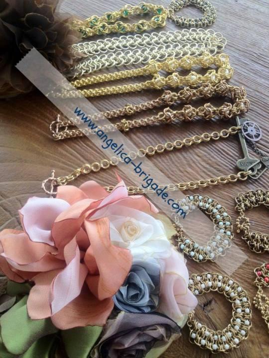 AngelicaBrigade Angelica Brigade handmade accessories accessory jewelry jewellery bracelet chainmaille chain maille chainmail bracelet necklace Swarovski Crystal Pearls indie designer