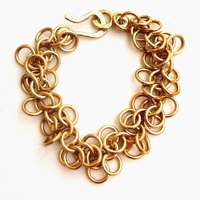 Shaggy Loops Chainmaille Chainmail Chain Maille Bracelet Gold