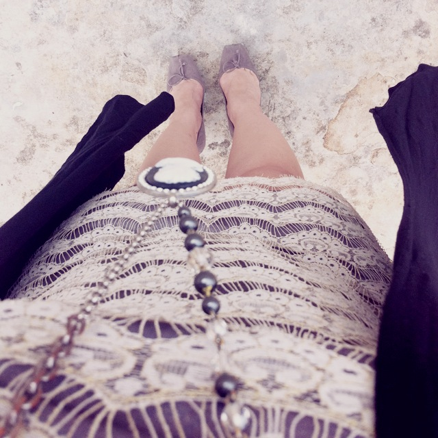 style mini dress long cardigan ballerina inspired shoes Ali Ro Lace Dress Tarina Tarantino Handmade Cameo Necklace Riller & Fount Cardigan Dior Pointe Shoes or Ballet Shoes inspired Pumps