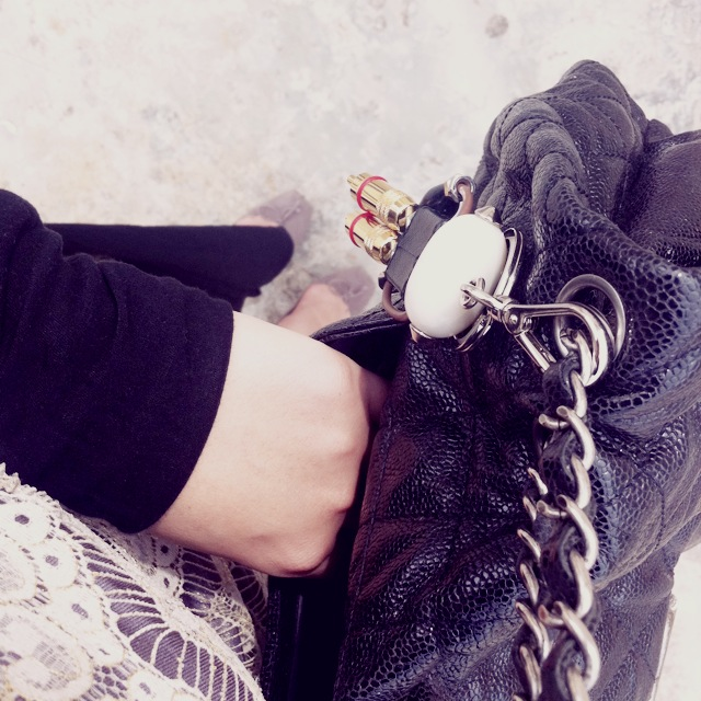 Style Ali Ro Lace Dress Chanel Bag Prada Bag Charm