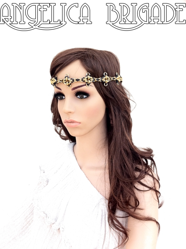 angelica brigade handmade circlet handmade headpiece chainmaille jewelry chain maille headband chainmail necklace statement jewellery 002s