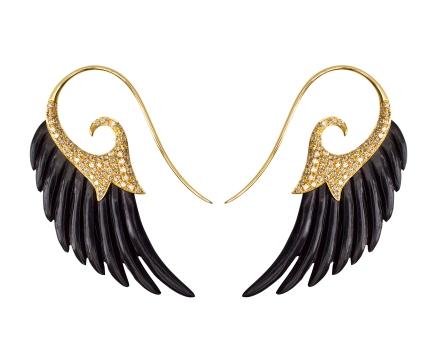 Noor Fares Wing Earrings Black Gold Brown Diamond