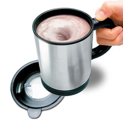 Stainless Steel Self Stirring Mug, $18.99 - available via www.stirringmug.com