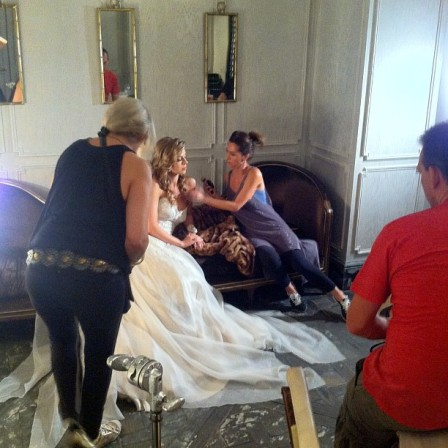 Amy Michelson editorial stylized bridal gown photo shoot at The London West Hollywood, Model Actor Tess Panzer Hair and Makeup Denise Empey