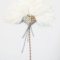 Coquette ... 1920s Inspired Oversized Handheld Fan with a Beaded Handle
