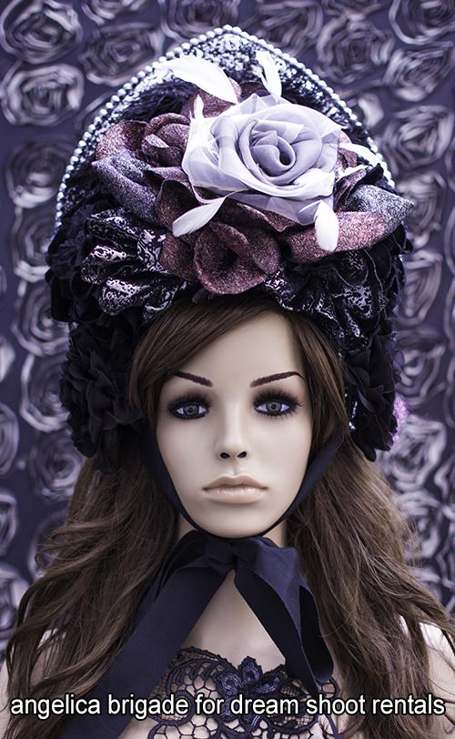 angelicabrigade demi-couture millinery tiara - kokoshnik - for dark high fashion editorial photo shoot