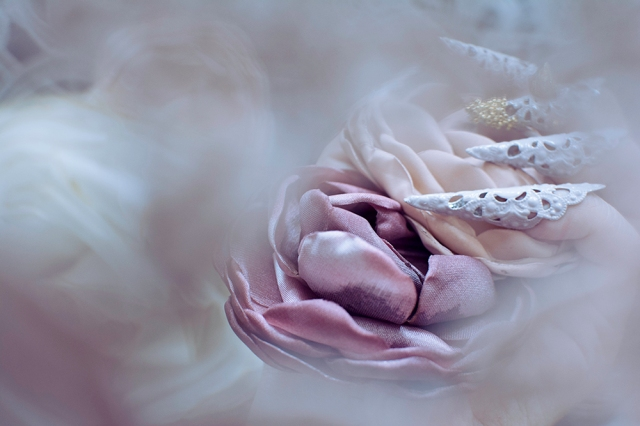 Pink, hazy, romantic editorial photography - featuring silk flowers and nail jewelry by Angelica Brigade