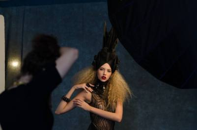 Lindsay Adler fashion editorial photo shoot - behind the scenes photo - headpiece by Angelica Brigade