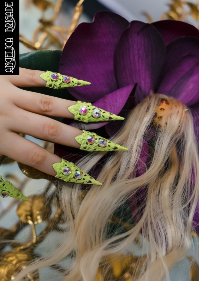 Angelica Brigade Nail Ornaments | Acid Green Claws with Swarovski Crystals | Custom Made Jewelry